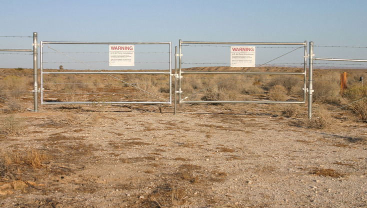 The nearby gate at Edwards AFB
