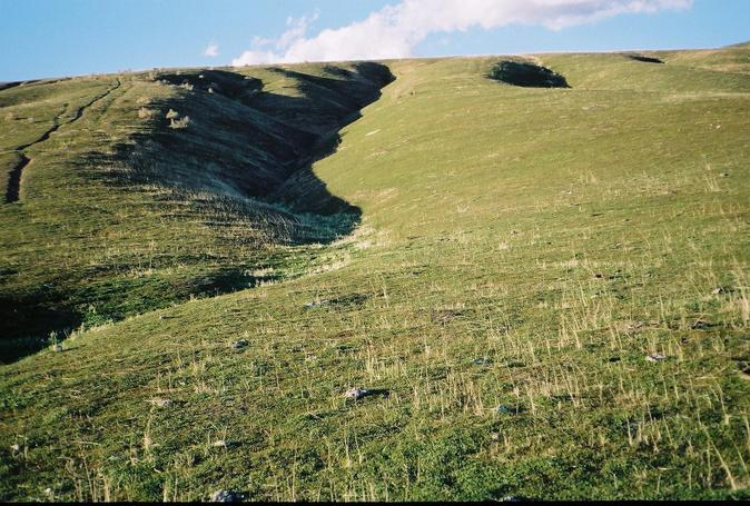 Looking up the hillside towards the confluence point, from near the USGS marker