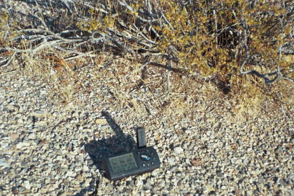My GPS receiver's display at the confluence point