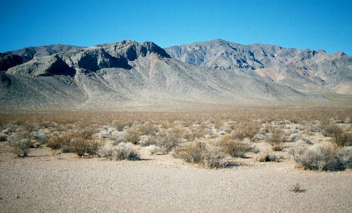 View to the west.  Death Valley lies over the mountain ridge.