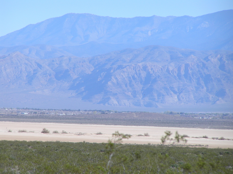 View to the north from the confluence showing the playa I traversed, in sandy color.