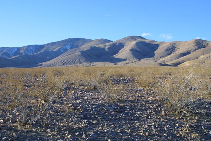 Picture of the confluence taken from SE.  The creosote bush in center foreground marks it pretty well.
