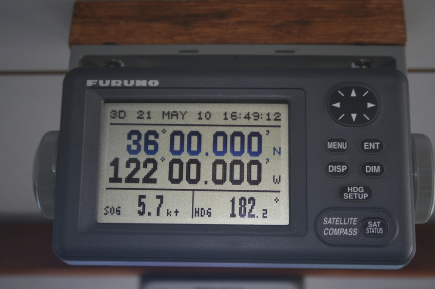 The magic moment, view of Furuno GPS Sat Compass