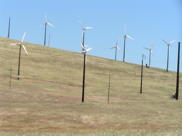 Wind turbines, 4.6 km northwest of confluence.
