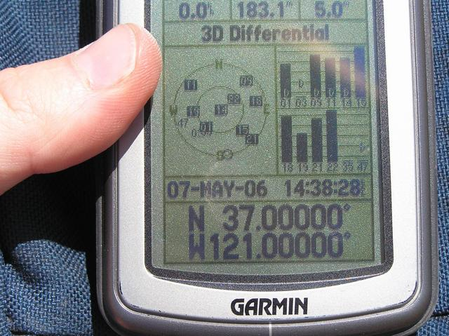 GPS reading at confluence site.