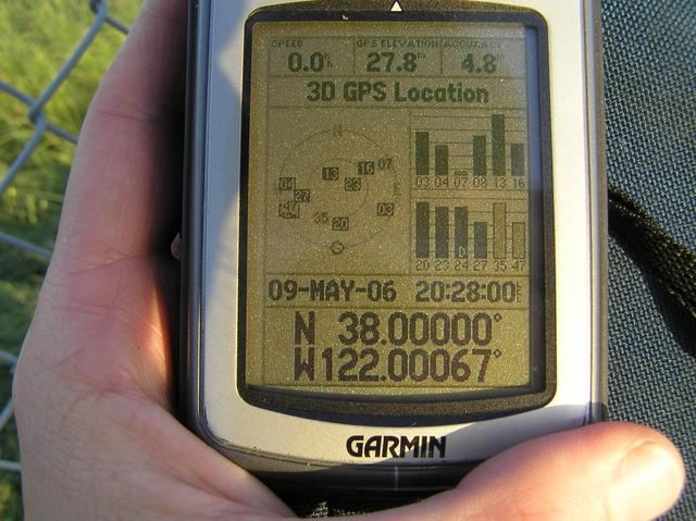 GPS reading at the closest approach to the confluence... up against the fence.