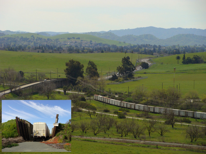 View of 38N 122W area from Highway 4, with inset of a restored rail car in an ammunition bunker.