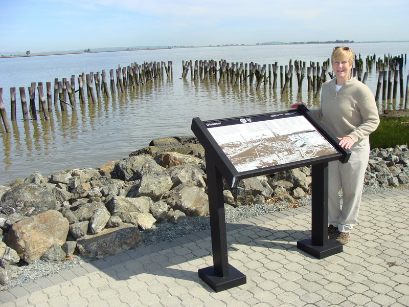 Port Chicago: Wayside exhibit at Pier A site shows destruction from 1944 explosion.