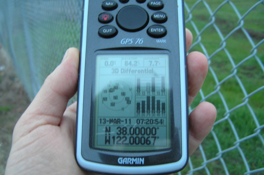 GPS reading at the closest approach to the confluence point.