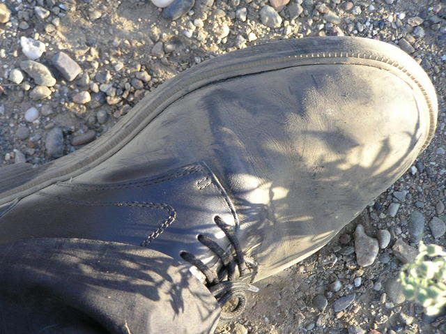 Confluence trek results:  Dusty shoe.