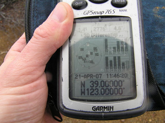 A wet GPS receiver at 39 North 123 West.