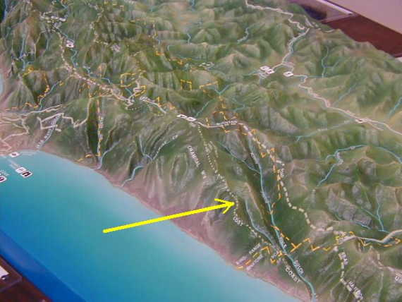 Relief map at the King Range office
