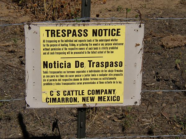 C&S Cattle Company no trespassing sign at Dawson
