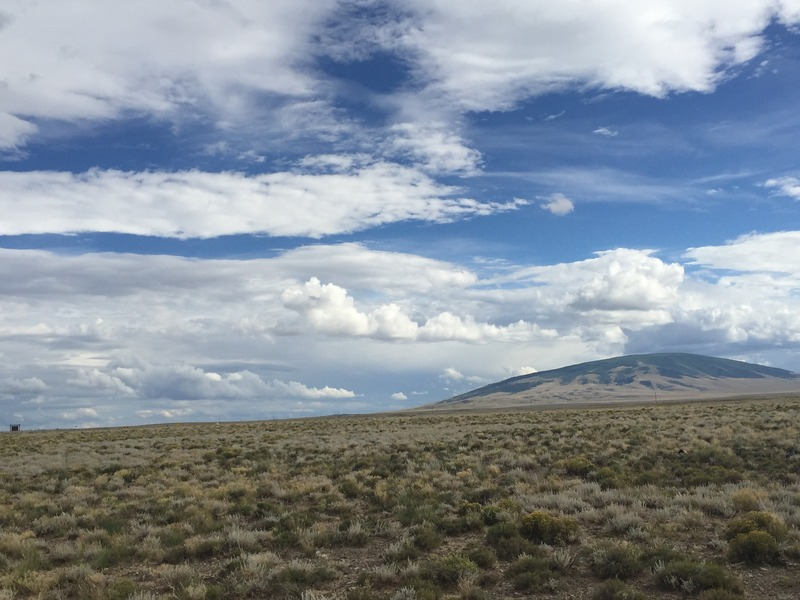 View to the south from the confluence, of one of the shield volcanoes in New Mexico.