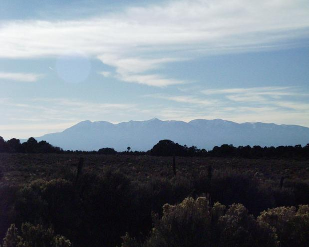 looking west to the Abajo Mountains near Monticello, Utah
