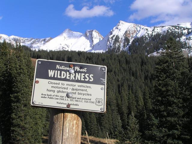 Wilderness sign about 300 meters south of the confluence, looking west.