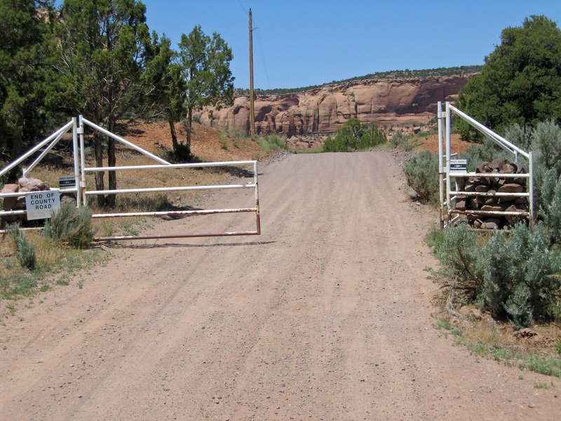Gate with No Trespassing sign