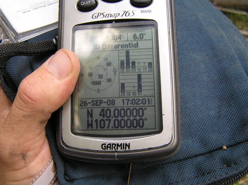 GPS reading at the point after an extensive confluence dance.
