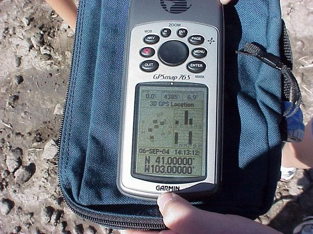 GPS reading at the confluence site after a brief confluence dance.