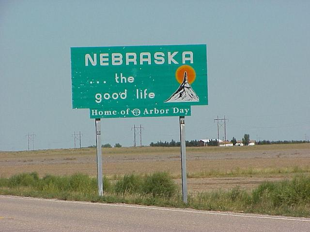 Nebraska state line sign on the border, about 10 km west of the confluence.