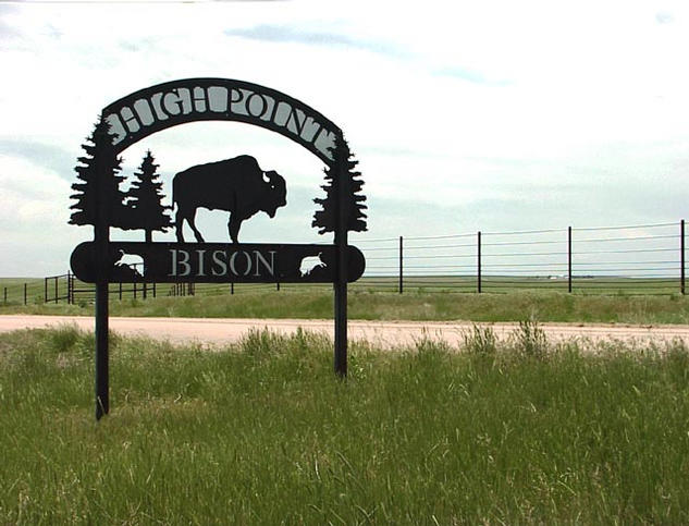 Sign at entrance to High Point Bison Ranch
