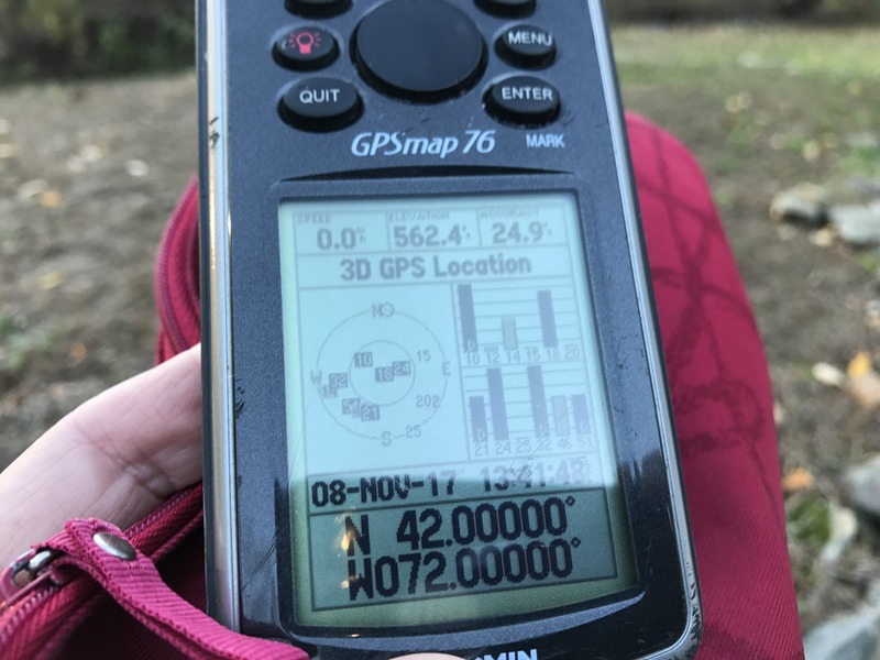 GPS receiver at confluence point of 42 North 72 West.