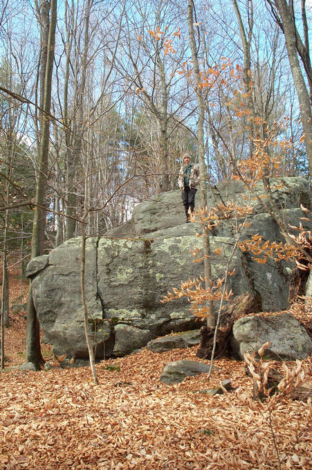 Alex on the granite boulder