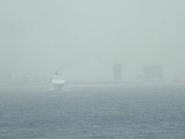 Fort Lauderdale skyline through the rain