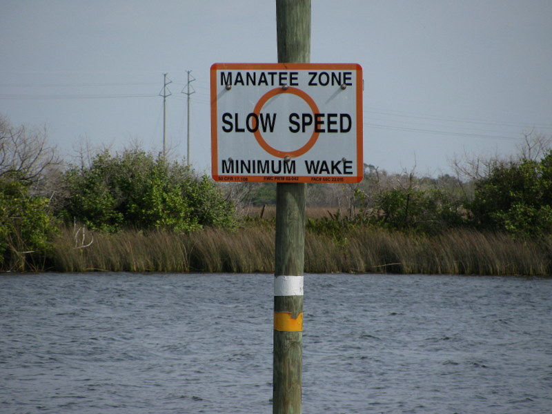 Sign reminding boaters this is a Manatee Zone