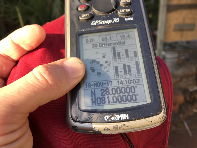 GPS receiver at confluence point of 28 North 81 West.