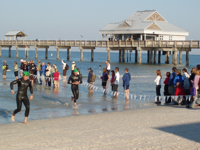 Pier 60, landmark of Clearwater Beach. Removing the wetsuit.