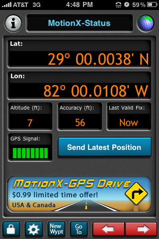 Motion-X GPSlite, free app for iPhone (screenshot)