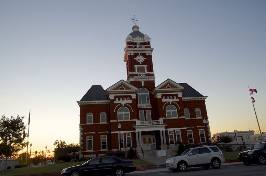 The courthouse in nearby Forsyth, Georgia, at sunset