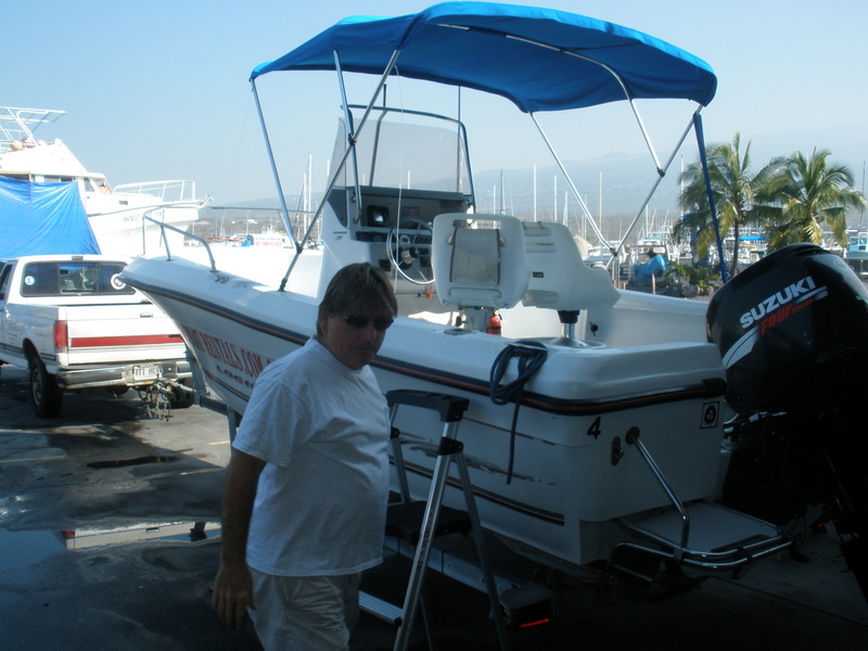 Boat and Eric, the owner/operator of Kona Boat Rentals