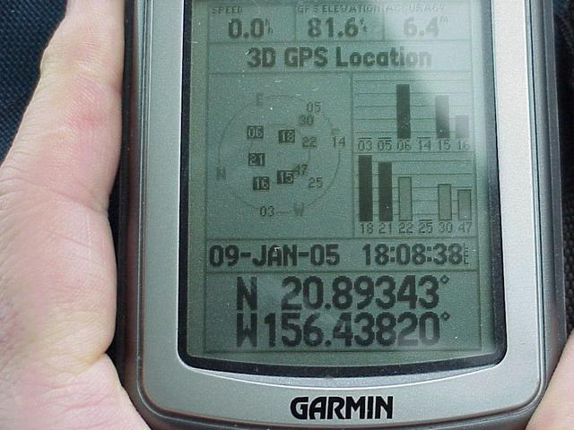 GPS reading at the closest approach.