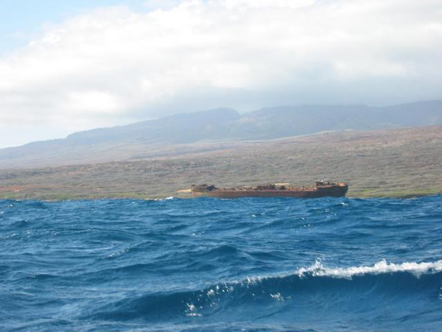 Wrecked frieghter on Lanai's North Coast
