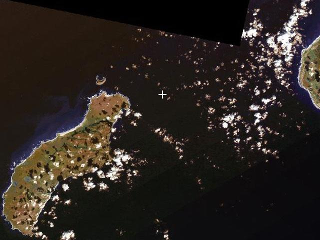 Satellite View (confluence at crosshairs, Kauai to the right, Niihau and Lehua to the left)