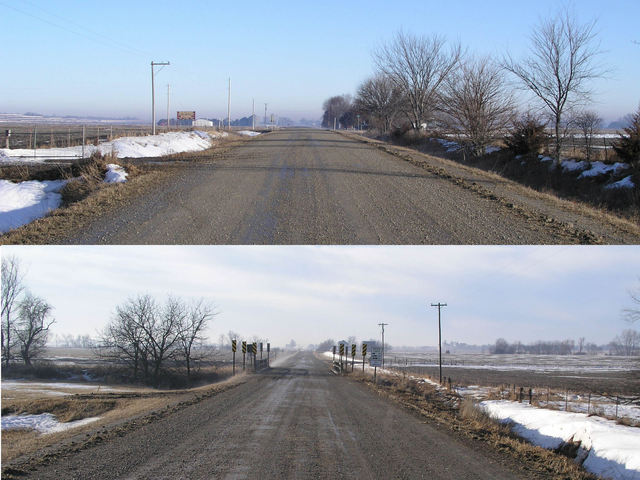 Road T, looking north and south from the 41st parallel