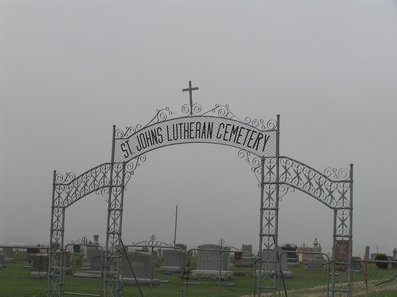 Cemetery under gray skies, about 2 km southwest of the confluence.