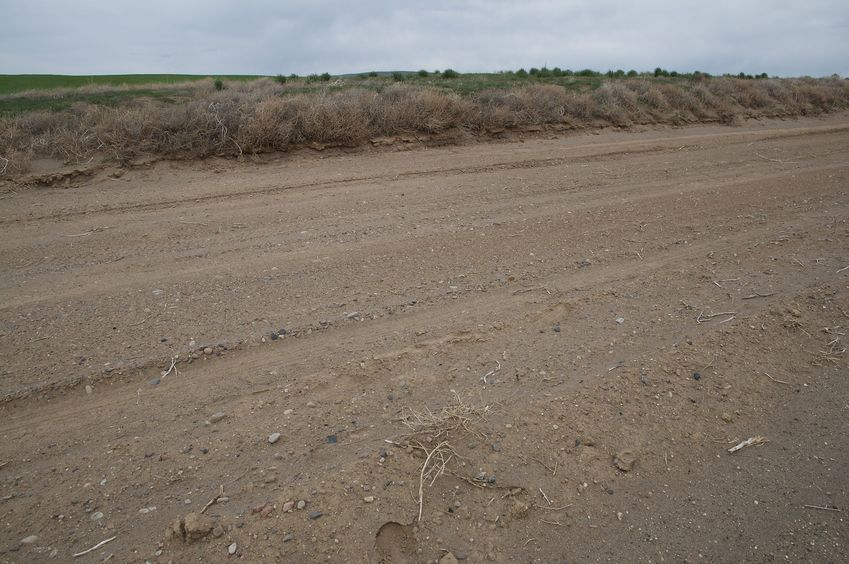 The confluence point lies on this dirt road, which runs along the 44 degree north line of latitude