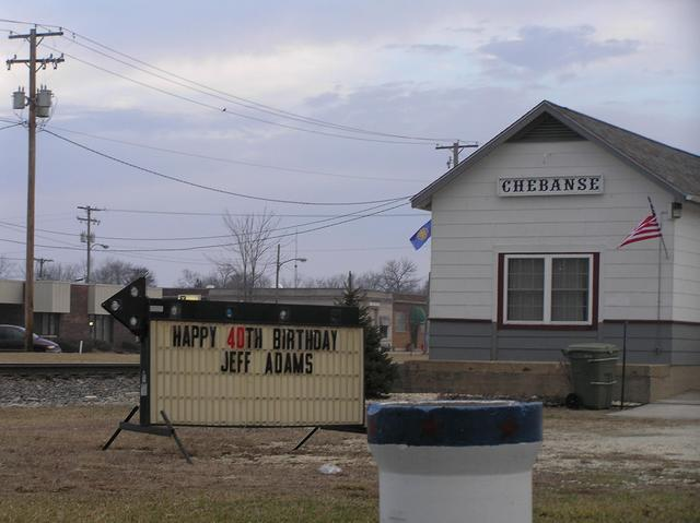 Nearest town to confluence:  Chebanse.  Railroad station.  Happy Birthday Jeff!