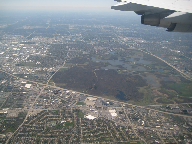 View of the area from the plane arriving in O'Hare