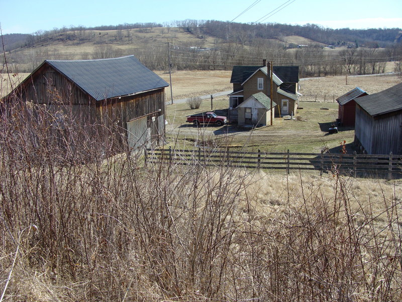 Looking down on the Weber Farm from the southeast edge of the confluence pond.