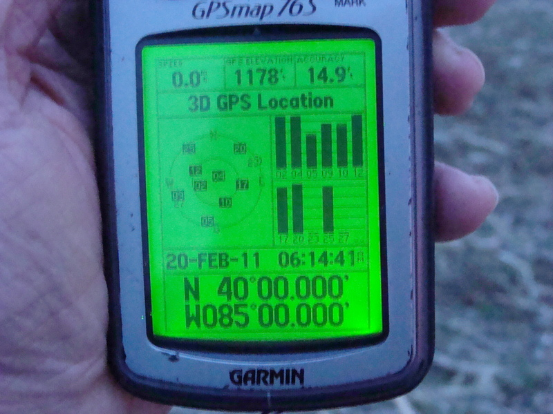 Eleven zeroes on International Confluence Day, at about 24 meters lower elevation than Hoosier Hill