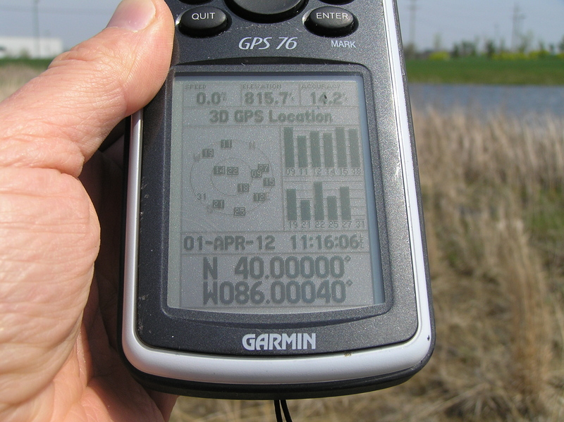 GPS reading near the confluence point.