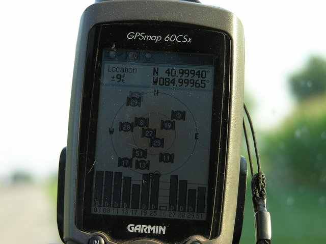 My GPS receiver, 100 feet from the confluence point