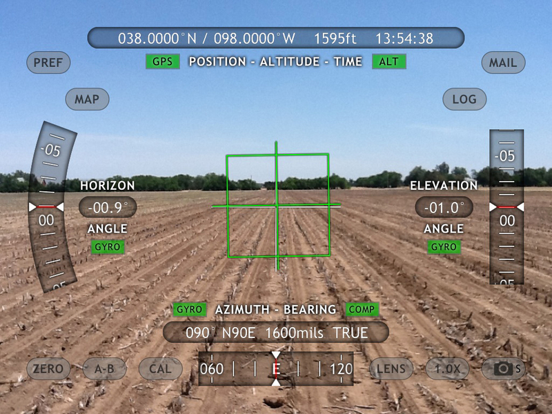 iPad view east using Theodolite - lots of useful data is superimposed.