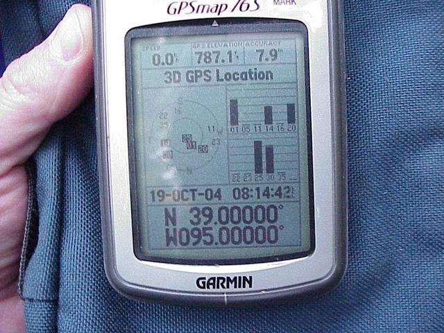 GPS unit at the confluence site.