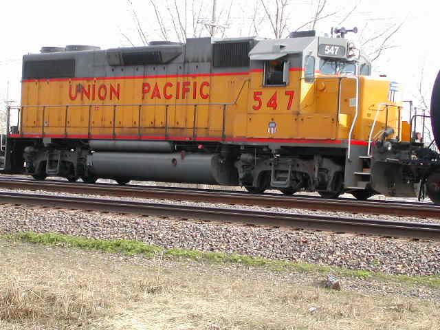Union Pacific running the tracks beside the confluence