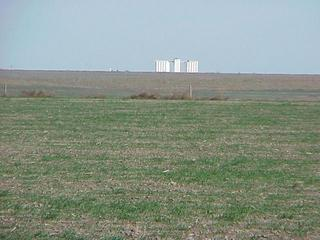 #1: View from the confluence to the north toward the grain elevator at Monument, Kansas.